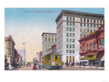 View of Broadway with Street Car - Oakland  CA
