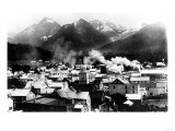 Town View of Sitka  Alaska with Pyramid Mountains Photograph - Sitka  AK