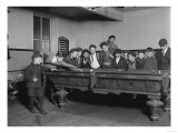 Street Boys Playing Billiards at the Boys Club Photograph - New Haven  CT
