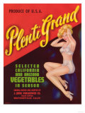 Plenti Grand Vegetable Label - Watsonville  CA