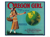 Oregon Girl Apple Crate Label - Elgin  OR