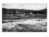 Seaside  Oregon Beach and Hotel Moore Photograph - Seaside  OR