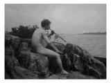 Naked Man Playing His Pipe Photograph