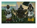 Three Eskimo Beauties and Sled Reindeer - Alaska State
