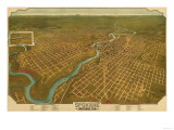Washington - Panoramic Map of Spokane