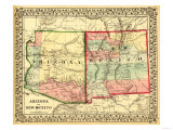 Arizona and New Mexico - Panoramic Map and New Mexico