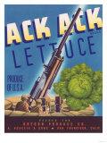 Ack Ack Lettuce Label - San Francisco  CA