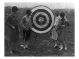 Women examining Archery Target Photograph - Washington  DC