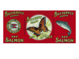 Butterfly Salmon Can Label - San Francisco  CA