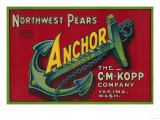 Anchor Pear Crate Label - Yakima  WA