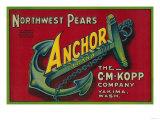 Anchor Pear Crate Label - Yakima  WA