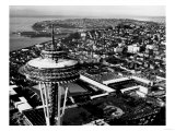 Space Needle construction and Waterfront Photograph - Seattle  WA