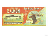 Elk Head Salmon Can Label - Fairhaven  WA