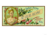 Au Lilas Blanc Soap Label - Paris  France