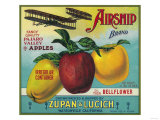 Airship Apple Crate Label - Watsonville  CA