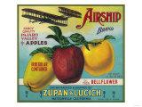 Airship Apple Crate Label - Watsonville  CA