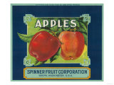 Spinner Fruit Apple Label - Yakima  WA