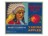 Indian Head Apple Label - Yakima  WA