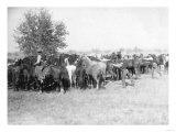 3 Cowboys Roping Horses Photograph - South Dakota