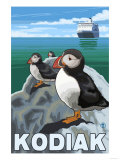 Kodiak  Alaska - Puffins and Alaskan Cruise Ship