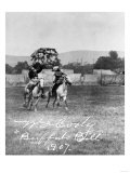 """Buffalo Bill"" Cody Riding Horse next to Native American Photograph"