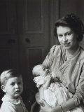 Princess Elizabeth with Princess Anne and Prince Charles  England