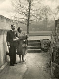 King George VI and the Her Majesty Queen Elizabeth the Queen Mother Taking a Stroll  England