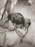 Prince Charles  Aged 18 Months  Kissing One Month Old Baby Princess Anne  England