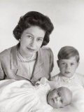 Queen Elizabeth II with Prince Edward and Prince Charles  England