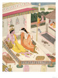 Krishna and Radha on a Bed in a Mogul Palace  Punjab  c1860
