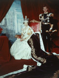 Queen Elizabeth II in Coronation Robes with the Duke of Edinburgh  England