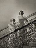 Princess Elizabeth and Princess Margaret on a Flight of Stairs  England  c1945