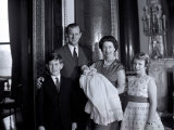 Queen Elizabeth II with the Duke of Edinburgh  Prince Charles  Andrew and Princess Anne  England