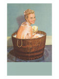 Soapy Blonde in Barrel Tub