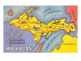 Map of the Upper Peninsula  Michigan