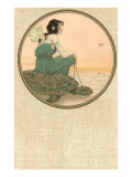 Girl with Tortoise  Art Nouveau
