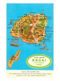 Map of Kauai  Hawaii