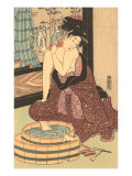 Japanese Woodblock  Lady at Bath