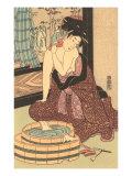 Japanese Woodblock  Lady at Bath