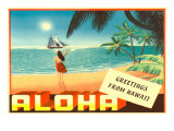 Greetings from Hawaii  Hula Girl on Beach