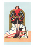 Art Deco Lady Pilot and Airplane