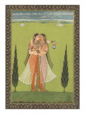 Persian Miniature Lovers Embracing