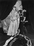 Queen Elizabeth II in Coronation Robes and Duke of Edinburgh  England