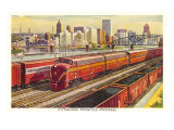 Rail Yards and Skyline  Pittsburgh  Pennsylvania