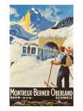 Montreux Ski Poster Reproduction d'art