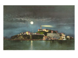 Moon over Alcatraz  San Francisco  California