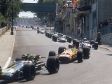 1968 Monaco Grand Prix  Jochen Rindt in Brabham leads Bruce McLaren in McLaren-Ford
