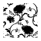 Black and White Floral Print with Three Blossoms