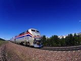 Amtrak Train at Marias Pass  Montana  USA