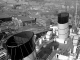 The Ocean Liner Queen Mary Berthed at Clydebank Docks  1938
